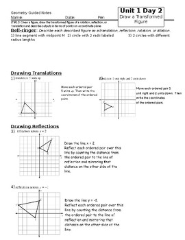 Transformations Guided Notes with Geogebra Link