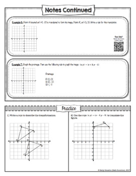 Transformations Guided Notes with Video Lessons (Geometry Unit 1) Common Core