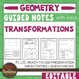 Transformations - Guided Notes, Presentations, and INB Activities