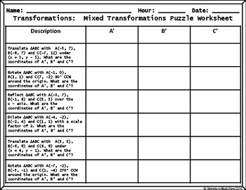 Mixed Transformations Cut, Paste, Solve, Match Puzzle Activity