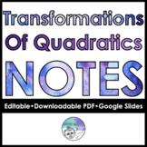 Transformations Of Quadratics follow along notes
