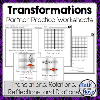 Transformations Partner Practice Worksheets By Math On The Move