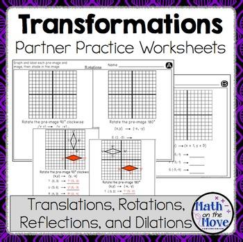 Transformations - Partner Practice Worksheets