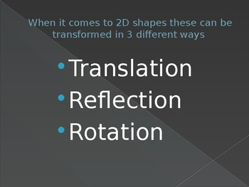 Transformations PowerPoint examples, explanation and quiz