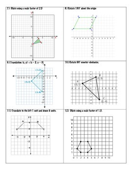 Transformations Practice Packet ~ 8th Grade Math