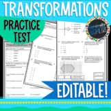 Transformations Practice Test; Geometry, Reflections, Rotations, Translations