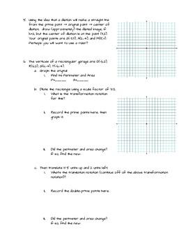Transformations Problem Solving 8th-10th Grade