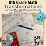 8th Grade Math Transformations Review Partner Puzzle Activity