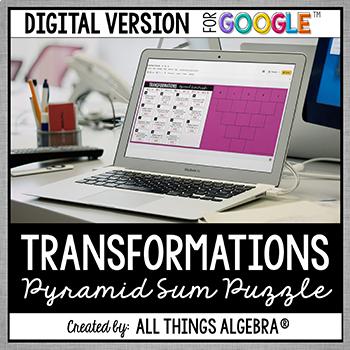 Transformations Pyramid Sum Puzzle: DIGITAL VERSION (for Google Slides™)