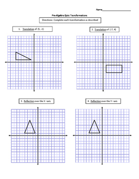 Transformations Assessment (Quiz) & Answer Key