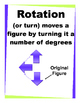 Transformations-Reflection; Translation; Rotation Vocabulary Supports Posters