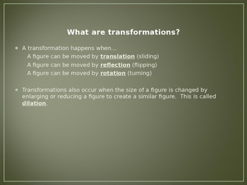 Transformations: Reflection and Translation