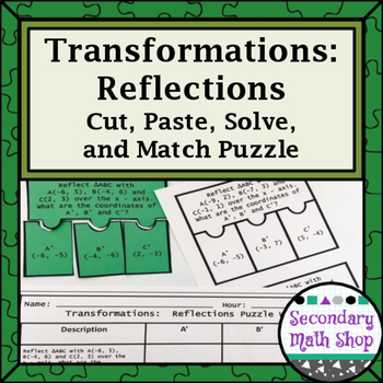 Transformations:  Reflections Cut, Paste, Solve, Match Puzzle Activity