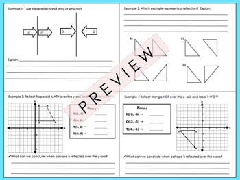 Transformations: Reflections Foldable for Interactive Notebooks
