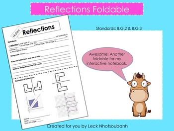 Transformations: Reflections Foldable for Interactive Note