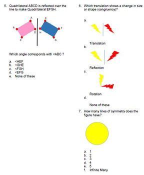 Transformations Reflections Rotations Translations Geometry Bank for ExamView