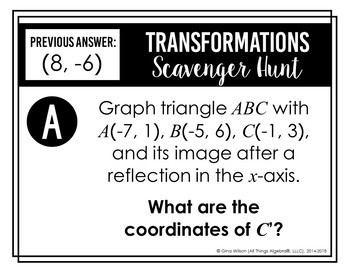 Transformations (Reflections, Translations, Rotations, Dilations) Scavenger Hunt