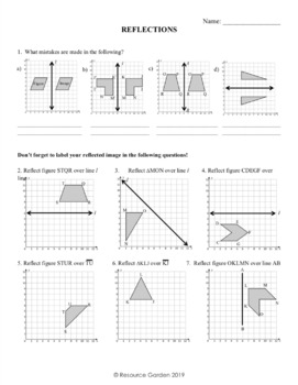Transformations: Practicing Reflections Worksheet