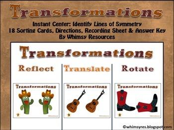 Transformations Rotate Reflect Translate Western Theme