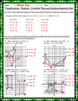 Transformations:  Rotations - Coordinate Plane and Rotational Symmetry Quiz