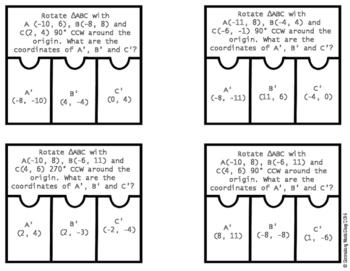 Transformations:  Rotations Cut, Paste, Solve, Match Puzzle Activity