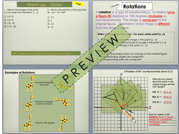 Transformations:  Rotations Foldable for Interactive Notebook PowerPoint