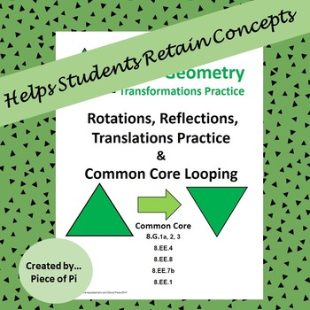 Transformations Rotations Reflections Translations Spiraling Test Prep 8.G.1 2 3