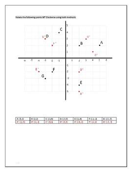Cartesian Transformations: Rotations Answer Key