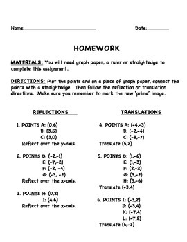 Transformations Rules and Activities Sheet