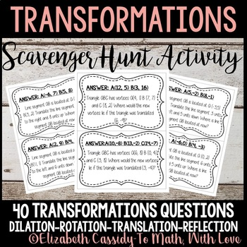 Transformations-Scavenger Hunt-Game-Transformations Activity