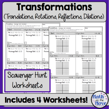 Transformations  - Scavenger Hunt Worksheets