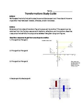 Transformations Study Guide 8th grade