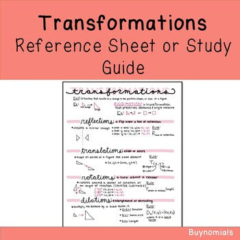 Transformations Study Guide Reference Sheet