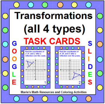 "TRANSFORMATIONS TASK CARDS / PARCC PRACTICE:""GOOGLE SLIDES"", SMARTBOARD, POWERP"
