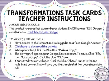 Transformations Task Cards with QR Codes GOOGLE Slide Version