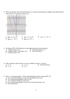 Pre-Calculus 12: Transformations Test (Version 1) - with FULL SOLUTIONS