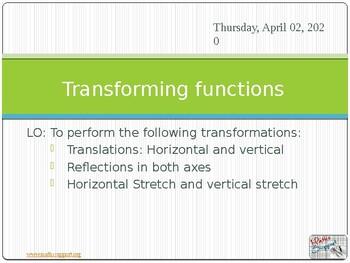 Transformations - Transforming functions