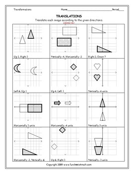 Transformations: Translations Worksheet by Funsheets4math | TpT