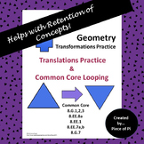 Transformations Translations Common Core Spiraling Test Prep 8.G.1 2 3