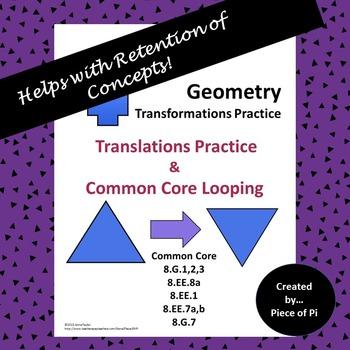 Transformations Translations Common Core Spiraling Test Pr
