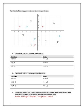 Study Guide Cartesian Transformations: Translations and Reflections Answer Key