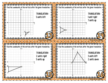 Transformations - Translations on a Coordinate Plane Task Cards