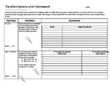 Transformations Unit Homework Packet FUN