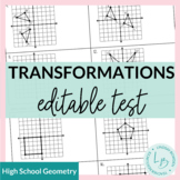 Transformations Study Guide and Unit Test--EDITABLE!!