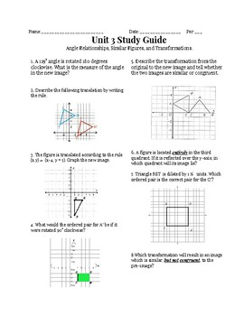 Transformations Unit Test Study Guide