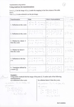 Transformations Of Functions Using Matrices