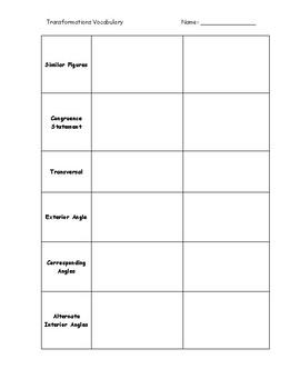 Transformations Vocabulary Graphic Organizer