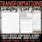 Math Vocabulary Word Search - Transformations Unit