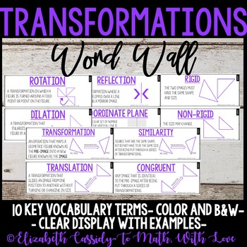 Transformations Vocabulary-Word Wall-Vocabulary-Upper Elementary CCSS