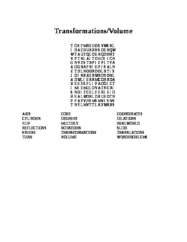 Transformations/Volume Wordsearch